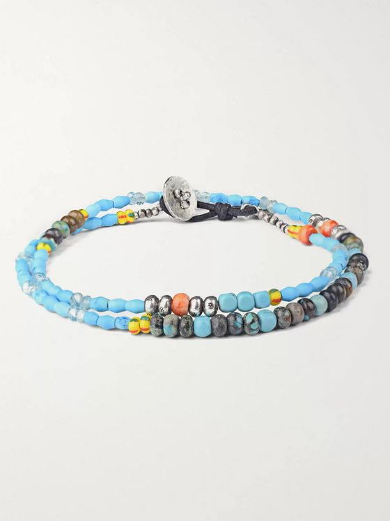 Peyote Bird Venice Beach Multi-Stone, Sterling Silver and Leather Wrap Bracelet