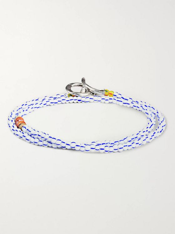 Peyote Bird Bead, Shell and Sterling Silver Wrap Bracelet