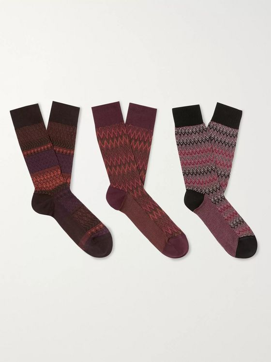 Missoni Three-Pack Crochet-Knit Cotton-Blend Socks