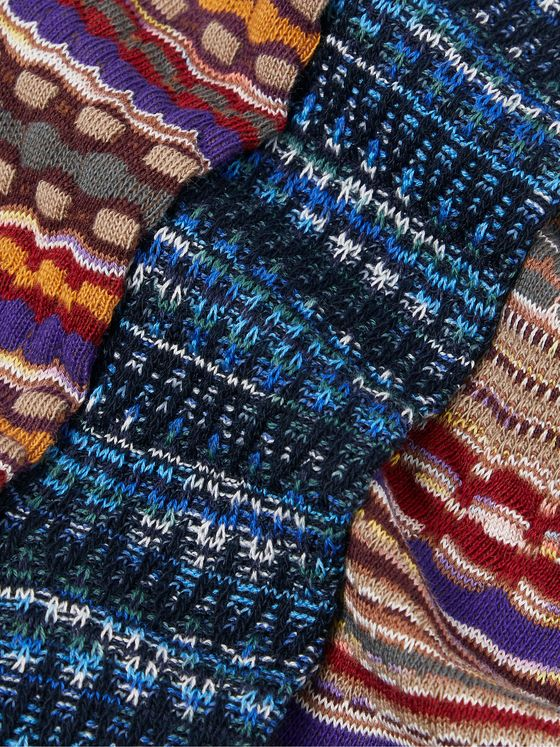 Missoni Three-Pack Crochet-Knit and Cotton-Blend Socks