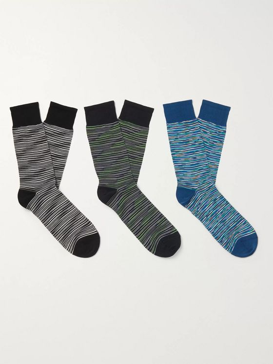 Missoni Three-Pack Space-Dyed Cotton-Blend Socks