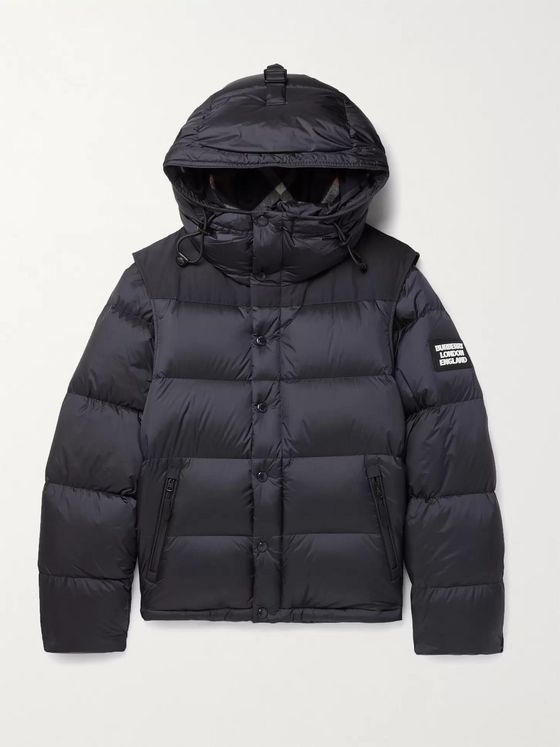 Burberry Quilted Nylon Down Hooded Jacket with Detachable Sleeves