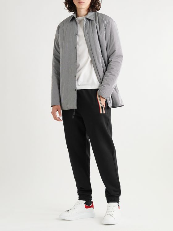 Burberry Tapered Webbing-Trimmed Loopback Cotton-Jersey Track Pants