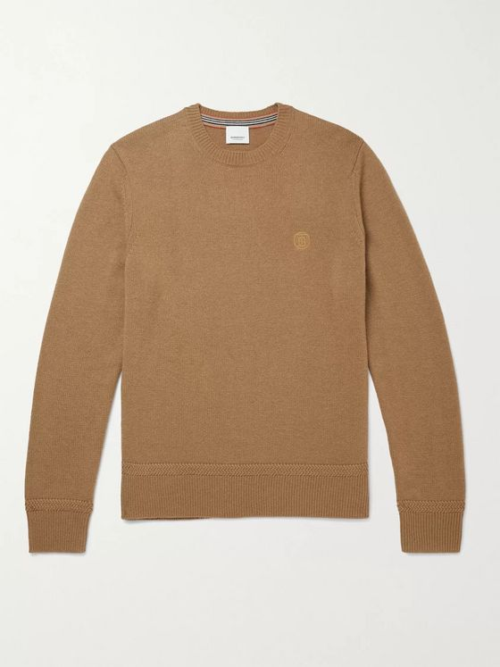 BURBERRY Slim-Fit Logo-Embroidered Cashmere Sweater