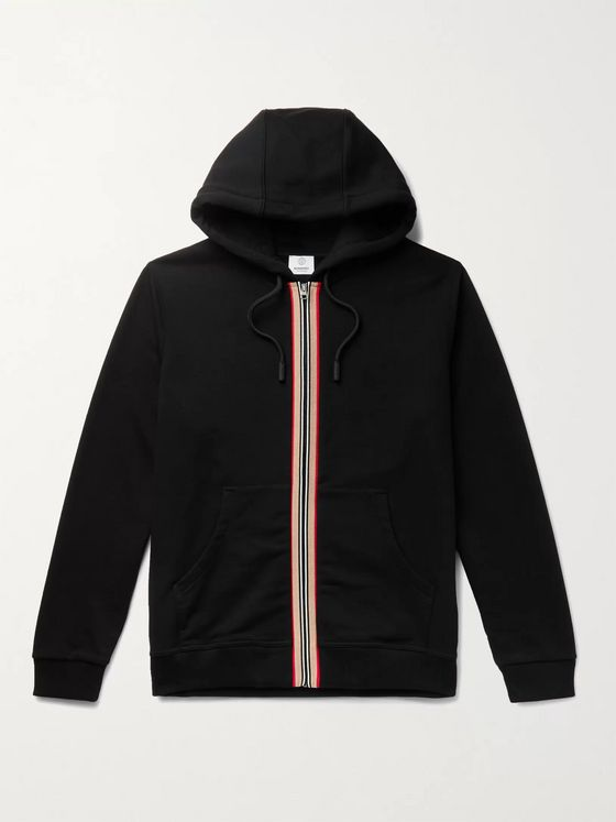 Burberry Webbing-Trimmed Loopback Cotton-Jersey Zip-Up Hoodie