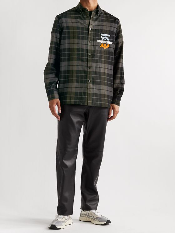 Burberry Logo-Appliquéd Checked Wool-Flannel Overshirt