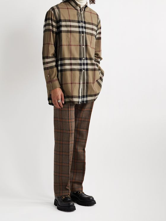 BURBERRY Button-Down Collar Checked Cotton-Flannel Shirt