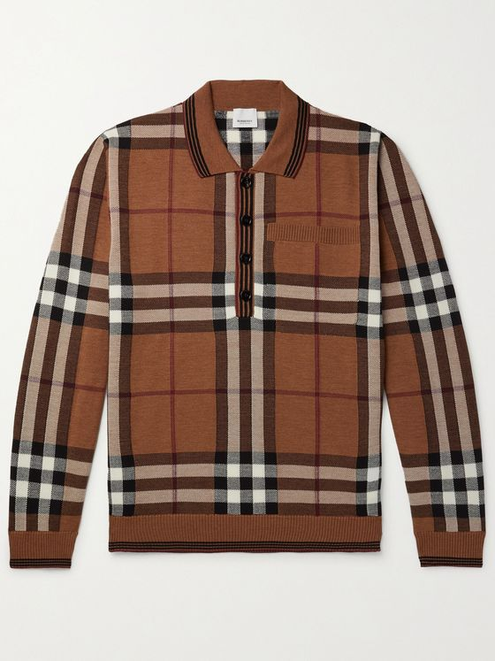 BURBERRY Checked Intarsia Wool Polo Shirt