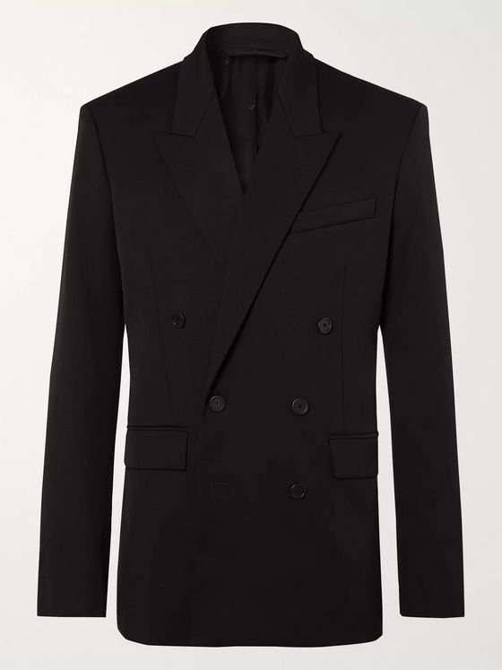 Balenciaga Double-Breasted Stretch-Virgin Wool Twill Blazer