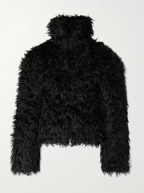 Balenciaga Cropped Padded Faux Fur Jacket