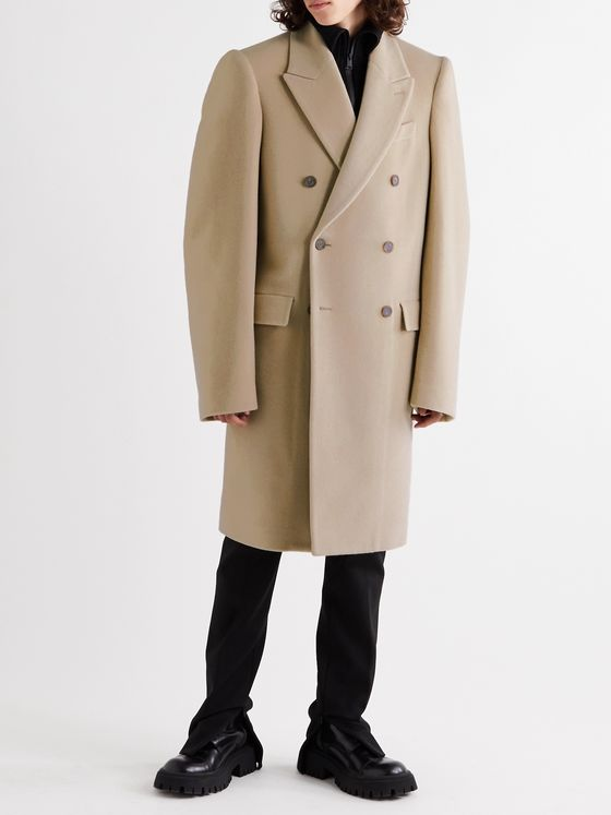 Balenciaga Oversized Double-Breasted Brushed Alpaca and Virgin Wool-Blend Coat