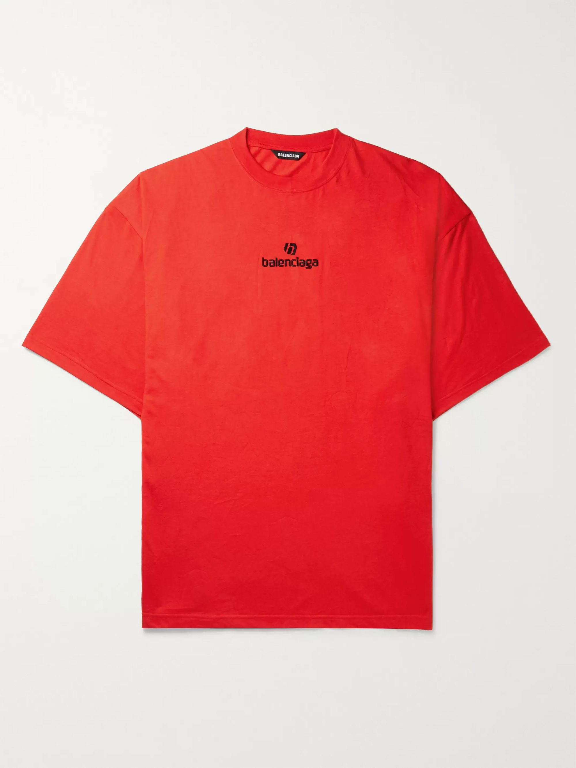 Balenciaga Oversized Logo-Embroidered Jersey T-Shirt