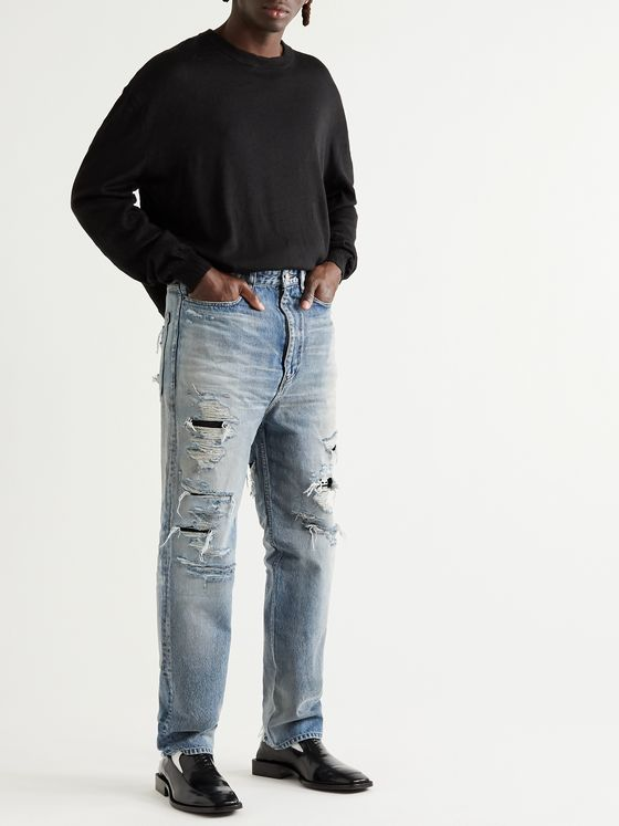Balenciaga Distressed Panelled Denim Jeans