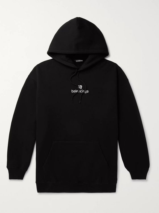 BALENCIAGA Logo-Embroidered Fleece-Back Cotton-Jersey Hoodie