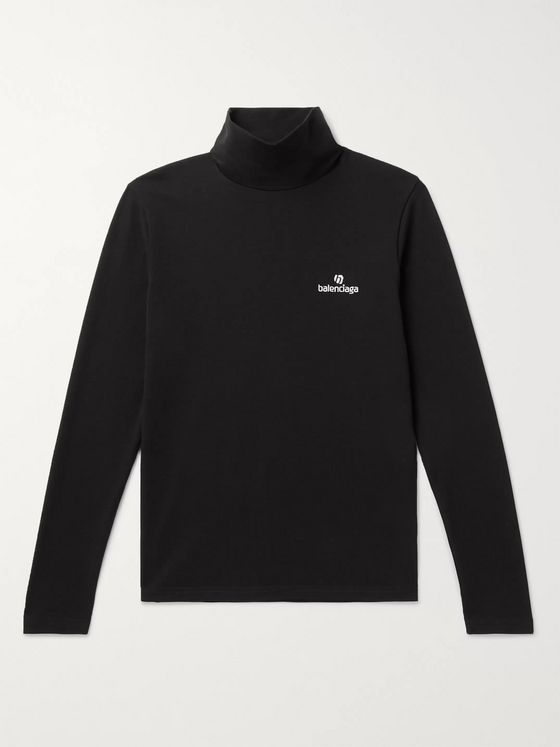 Balenciaga Logo-Embroidered Stretch Cotton-Jersey Rollneck T-Shirt