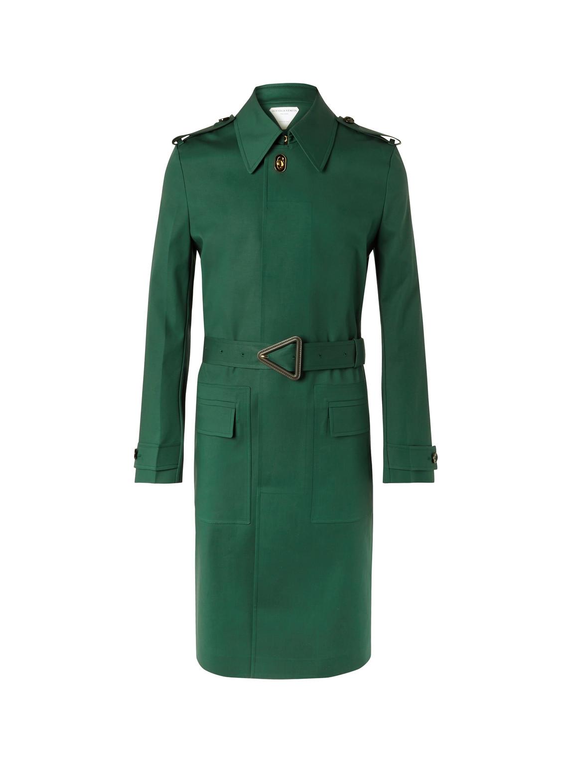 bottega veneta - cotton-blend trench coat - men - green - it 48