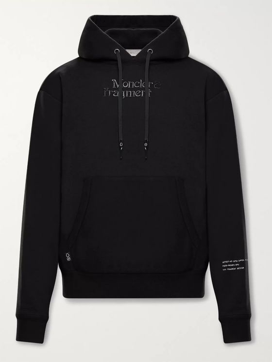MONCLER GENIUS 7 Moncler Fragment Logo-Embroidered Printed Cotton-Jersey Hoodie