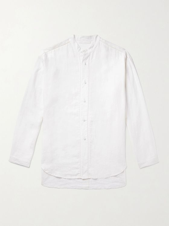 SMR DAYS Grandad-Collar Slub-Linen Shirt