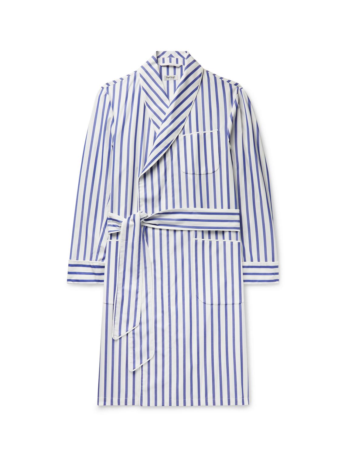 paul stuart - piped striped cotton-broadcloth robe - men - blue - m