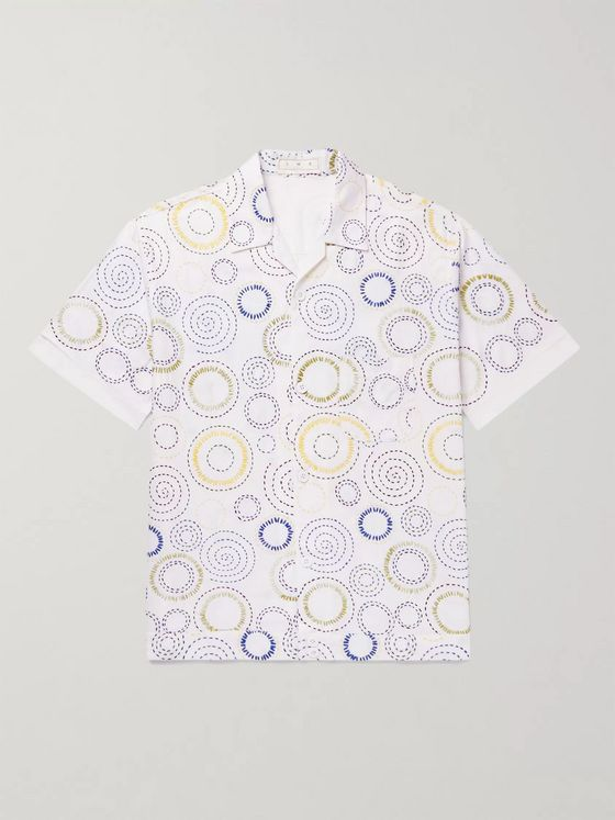 SMR Days Camp-Collar Embroidered Cotton Shirt
