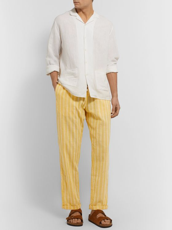 SMR Days Striped Embroidered Cotton Drawstring Trousers