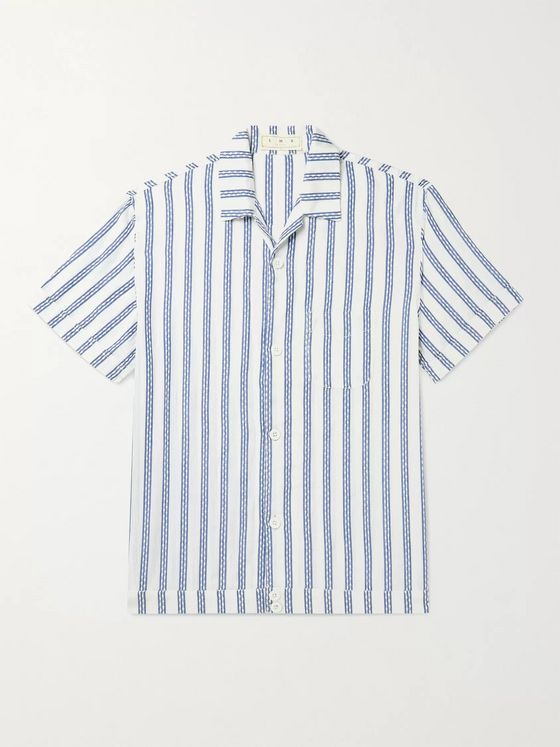 SMR Days Camp-Collar Embroidered Striped Cotton Shirt