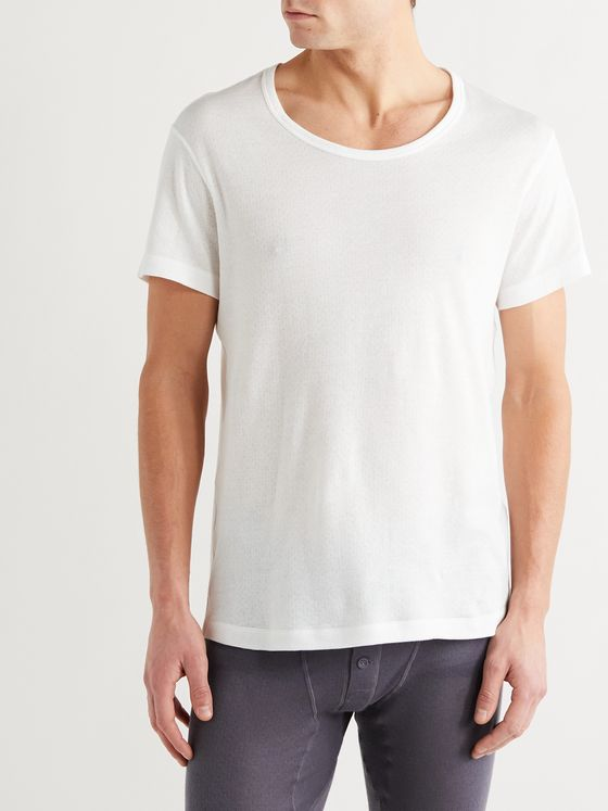 YINDIGO AM Air-Knit Perforated Cotton T-Shirt