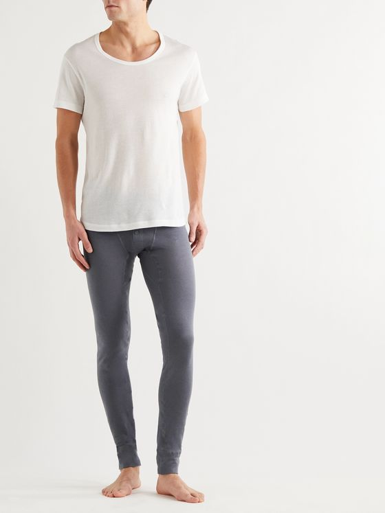 YINDIGO AM Slim-Fit Air-Knit Perforated Cotton Long Johns