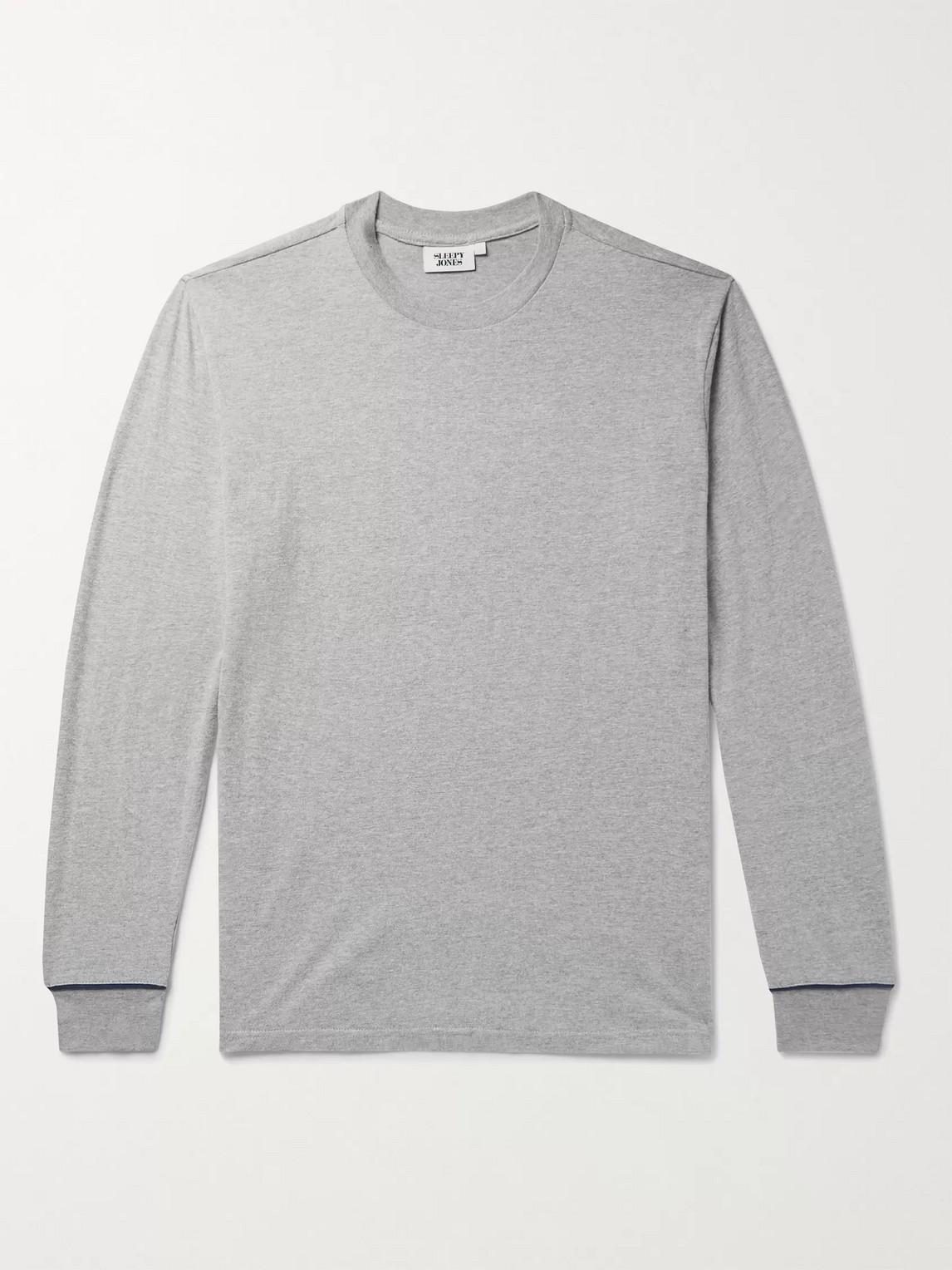 sleepy jones - powell cotton-blend jersey pyjama t-shirt - men - gray
