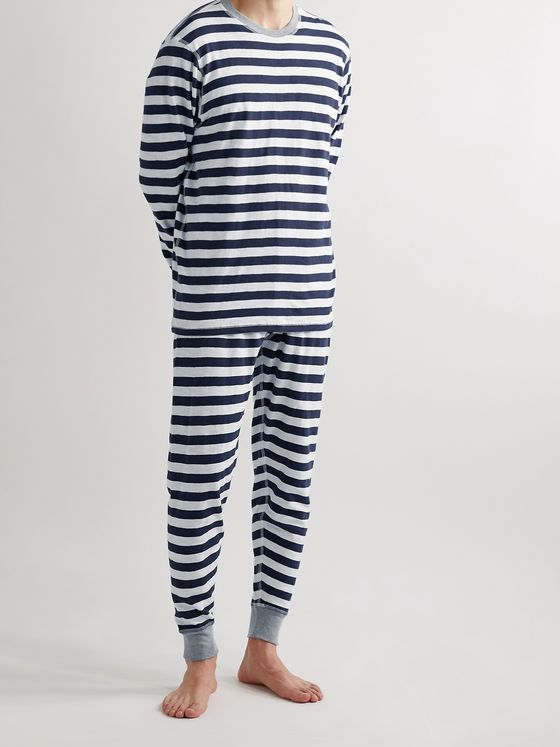 Sleepy Jones Keith Striped Cotton-Jersey Pyjama T-Shirt