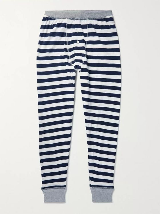 Sleepy Jones Keith Slim-Fit Striped Cotton-Jersey Long Johns