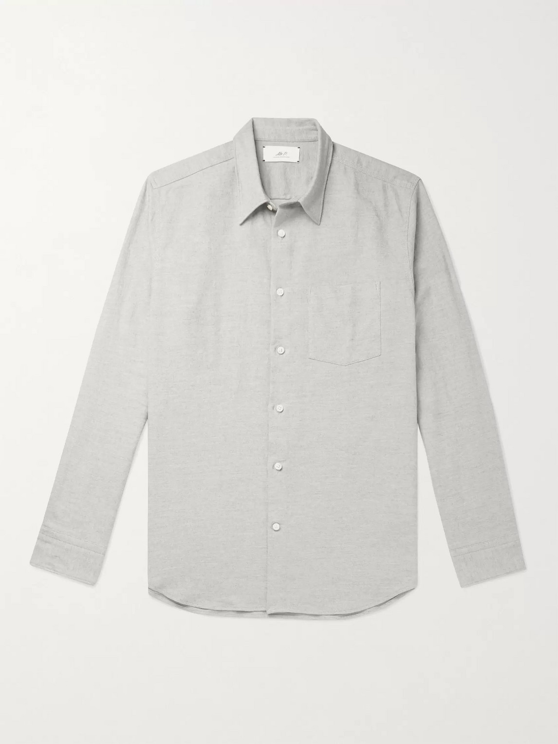 mr p. - paul mã©lange cotton, linen and wool-blend flannel shirt - men - gray