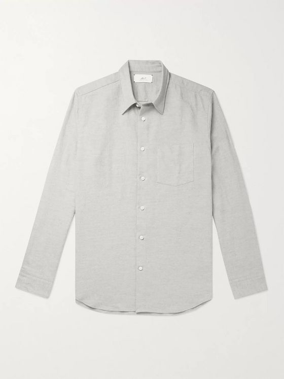 Mr P. Paul Mélange Cotton, Linen and Wool-Blend Flannel Shirt