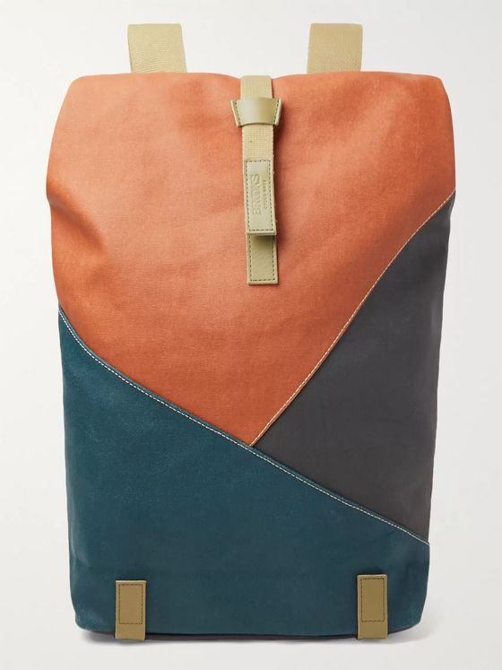 Brooks England Pickwick Large Leather-Trimmed Patchwork Coated Cotton-Canvas Backpack