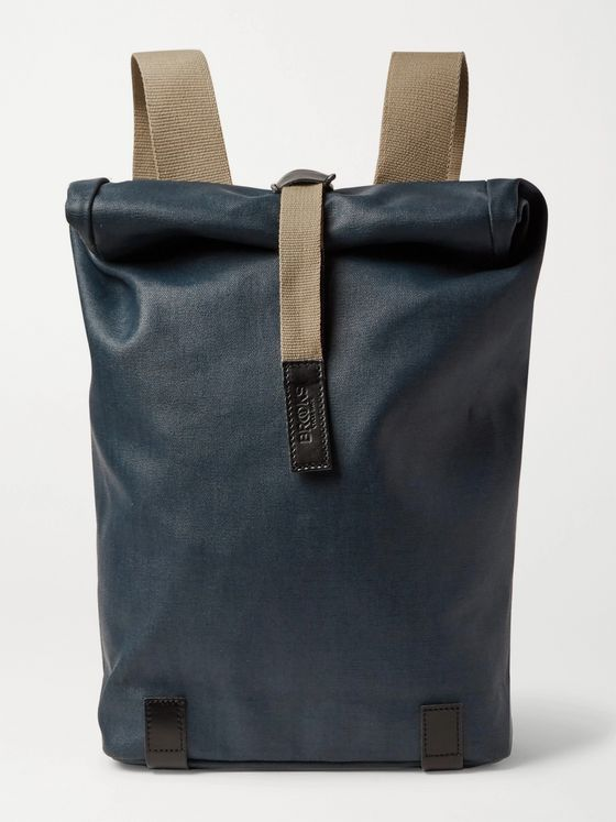 Brooks England Pickwick Small Leather-Trimmed Coated Cotton-Canvas Backpack