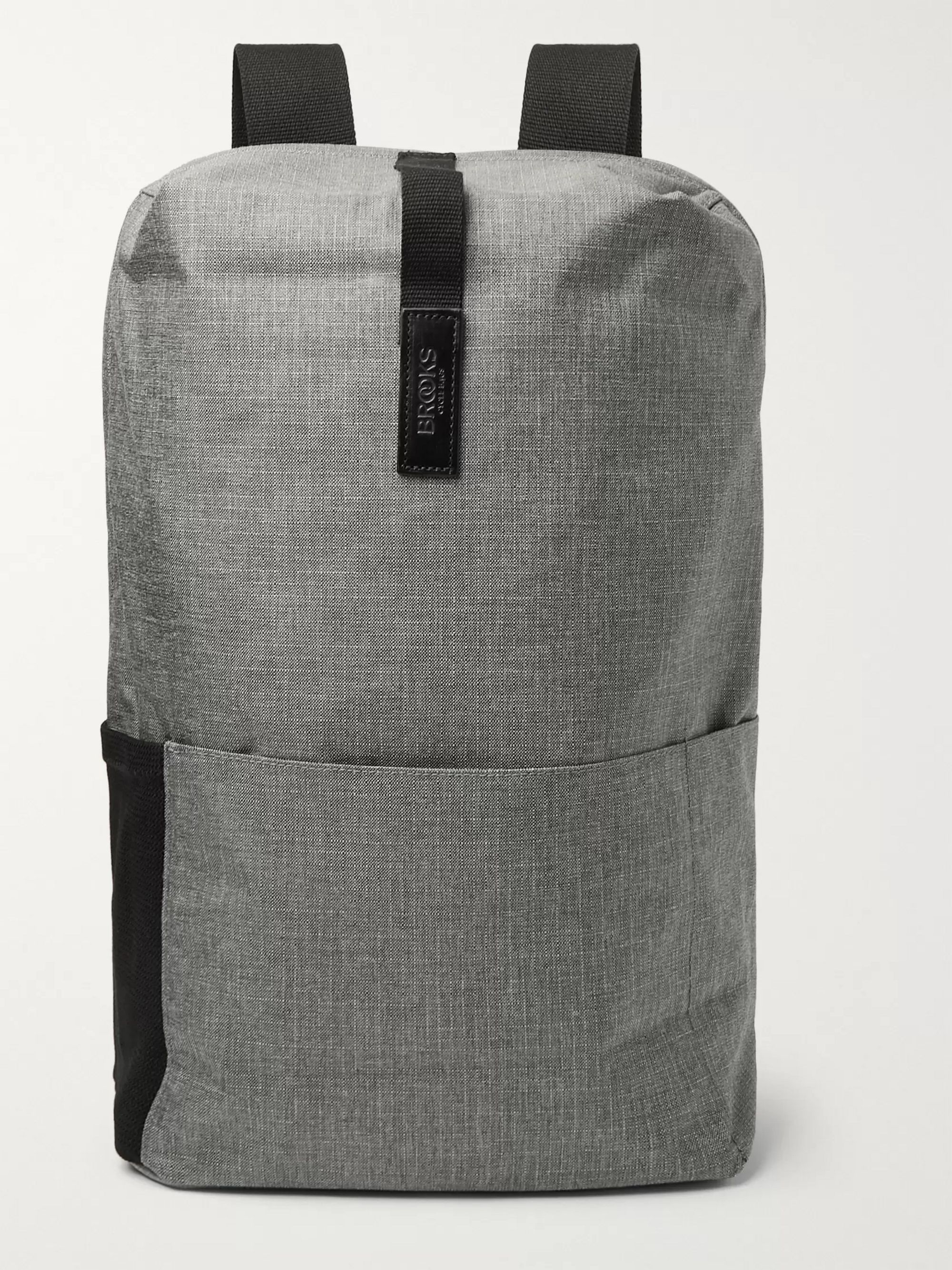 Brooks England Dalston Medium Leather-Trimmed Tex Nylon Ripstop Backpack