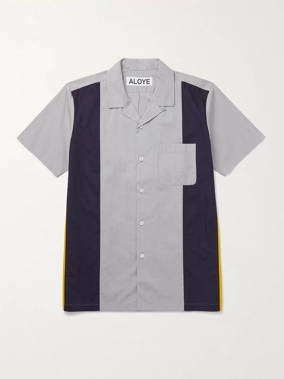 Aloye Camp-Collar Colour-Block Cotton Shirt