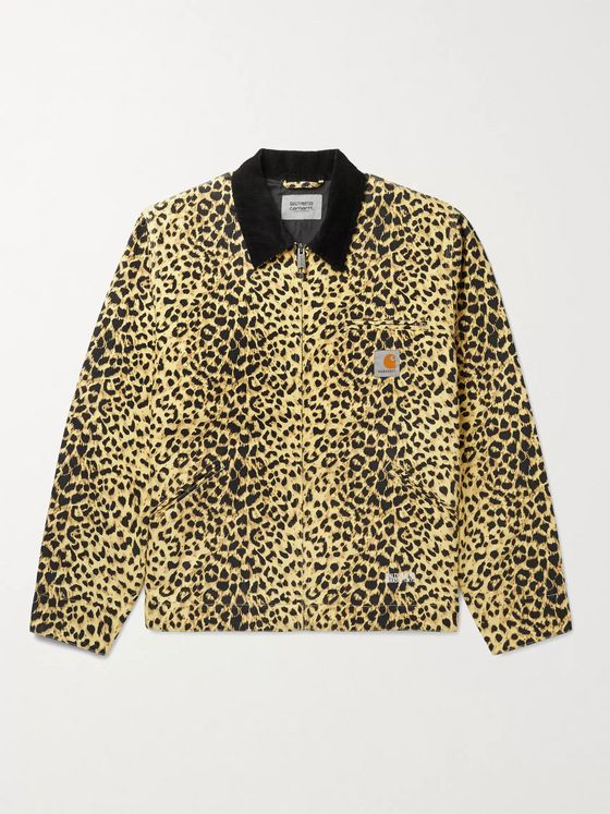 Carhartt WIP + Wacko Maria Corduroy-Trimmed Leopard-Print Cotton-Canvas Jacket