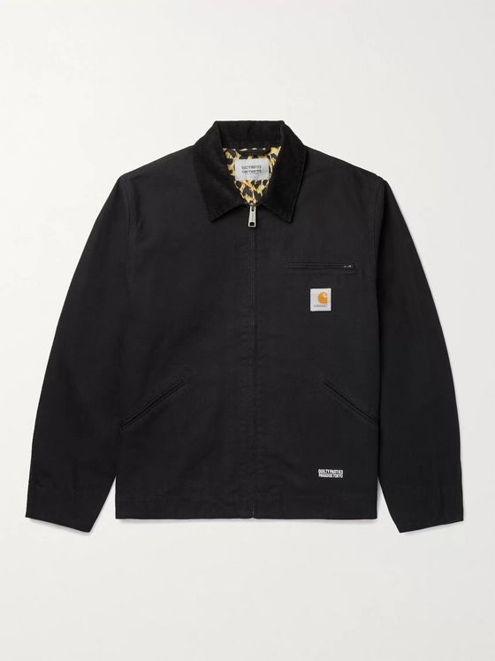 Carhartt WIP + Wacko Maria Logo-Appliquéd Corduroy-Trimmed Cotton-Canvas Jacket