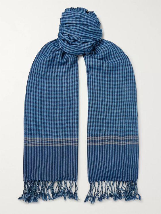 Il Bussetto Indigo-Dyed Fringed Striped Cotton Scarf
