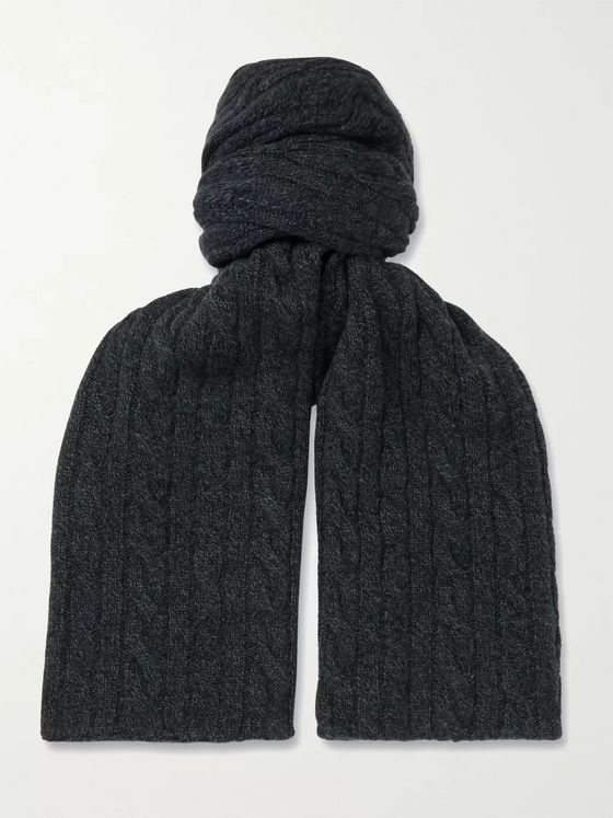 Loro Piana Cable-Knit Mélange Baby Cashmere Scarf