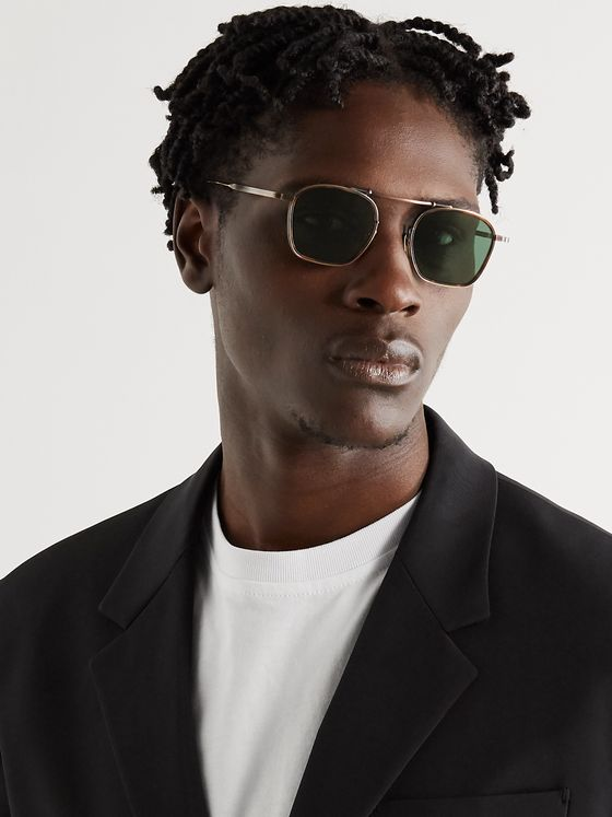 JACQUES MARIE MAGE Baudelaire Aviator-Style Gold-Tone Titanium and Tortoiseshell Acetate Sunglasses