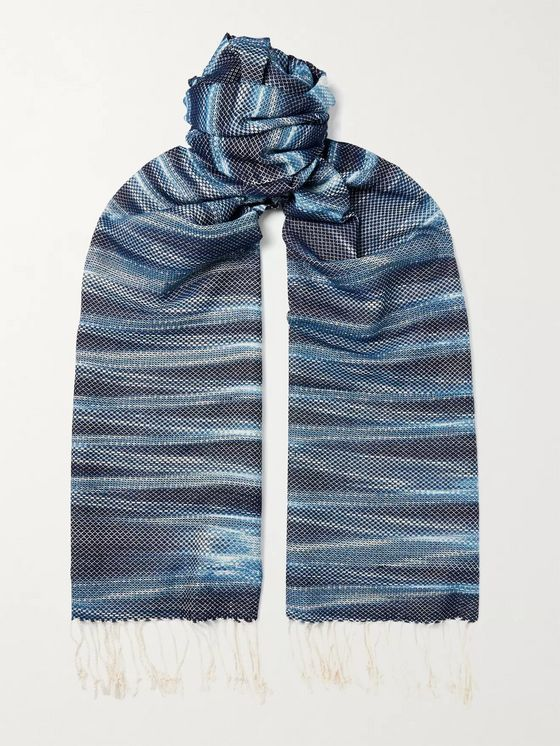 Il Bussetto Indigo-Dyed Fringed Cotton Scarf