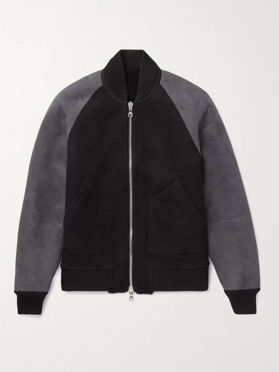 MR P. Reversible Colour-Block Shearling Bomber Jacket
