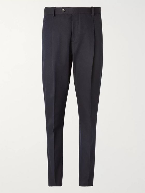 MR P. Slim-Fit Pleated Cotton-Blend Twill Trousers