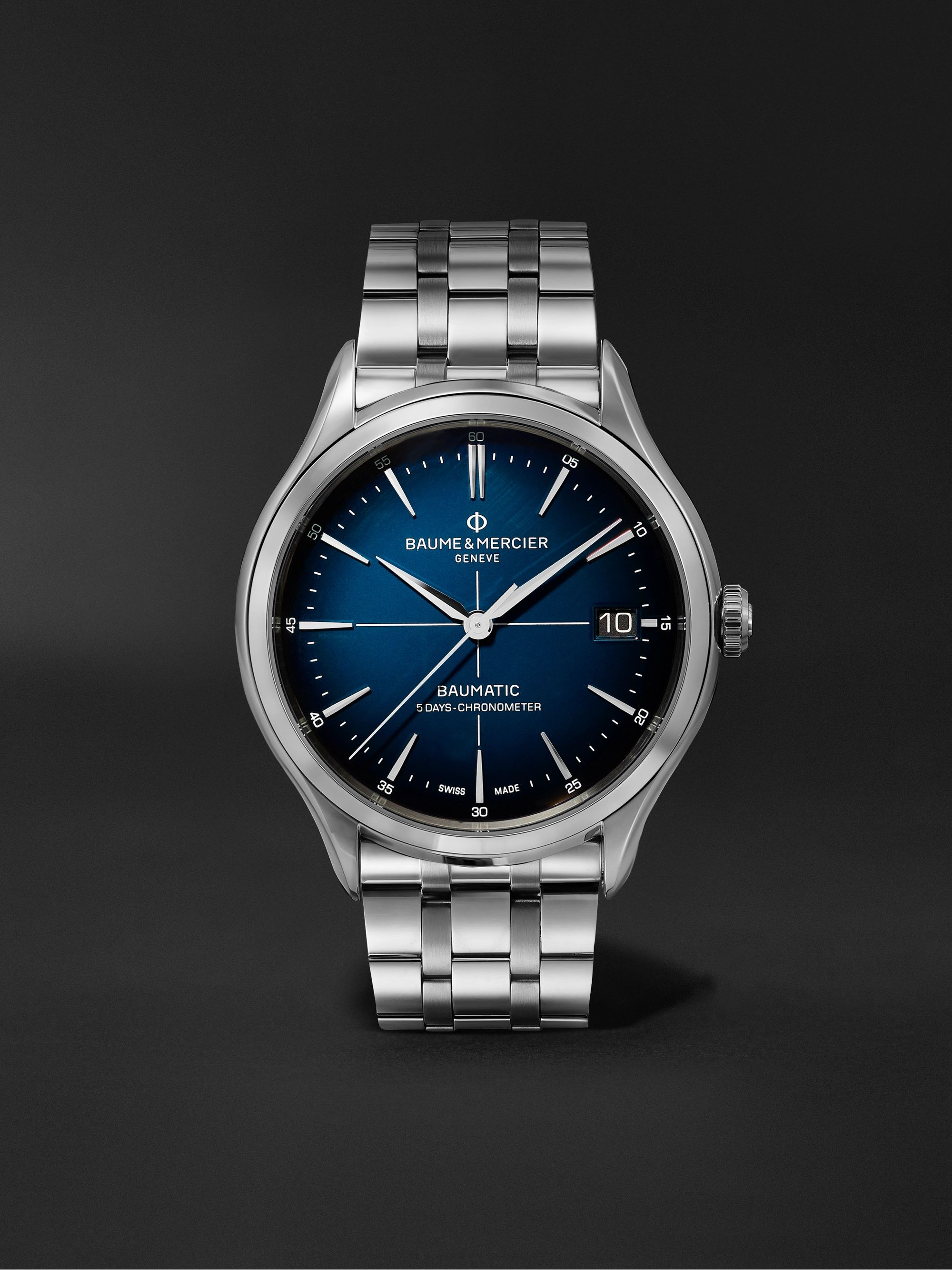 Blue Clifton Baumatic 10468 Automatic Chronometer 40mm Stainless