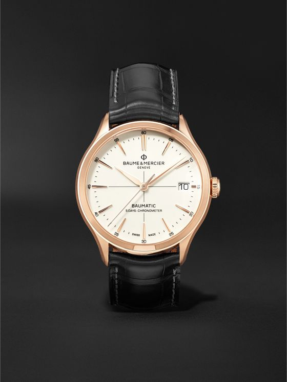 BAUME & MERCIER Clifton Baumatic Automatic Chronometer 39mm 18-Karat Rose Gold and Alligator Watch, Ref. No. M0A10469