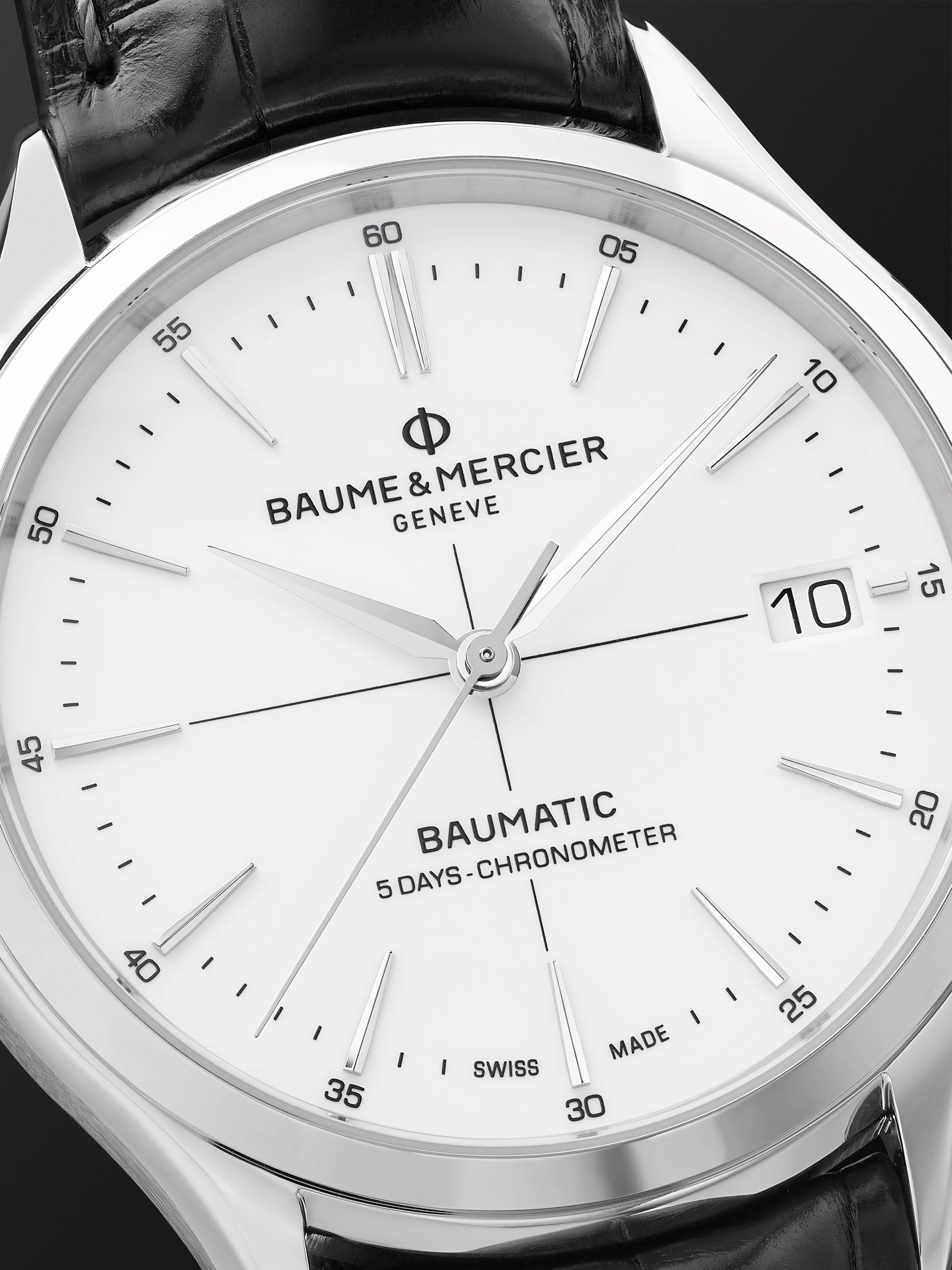 Baume & Mercier Clifton Baumatic Automatic Chronometer 40mm Stainless Steel and Alligator Watch, Ref. No. M0A10518