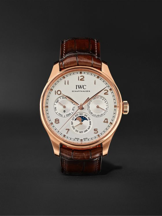 IWC SCHAFFHAUSEN Portugieser Perpetual Calendar Automatic 42.4mm 18-Karat Gold and Alligator Watch, Ref. No. IW344202