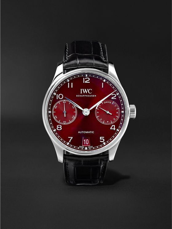 IWC SCHAFFHAUSEN Portugieser Automatic 42.3mm Stainless Steel and Alligator Watch, Ref. No. IW500714